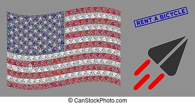 USA Flag Stylization of Space Ship and Grunge Rent a Bicycle Seal