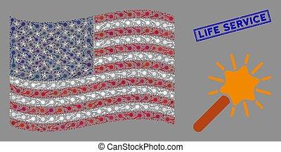 USA Flag Stylization of Wand Magic Tool and Distress Life Service Stamp