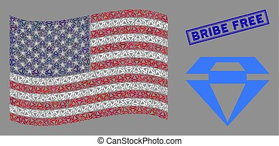 USA Flag Stylized Composition of Diamond and Scratched Bribe Free Seal