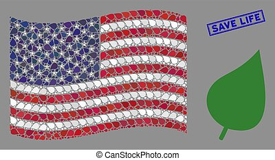 USA Flag Stylized Composition of Plant Leaf and Textured Save Life Stamp