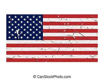 USA flag symbol peeling