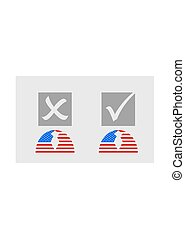 USA flag textured person icon with vote mark