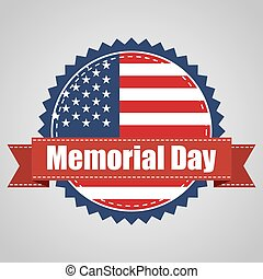 USA flag to memorial day with ribbon. Vector illustration