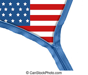 USA flag under zipper