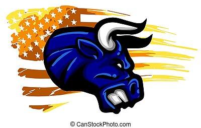 usa, flag., vagy, tehén, struktúra, bika, grunge, fej