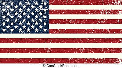 Illustration of a vintage United States of America flag scratched