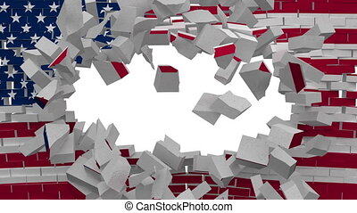 USA flag wall explosion
