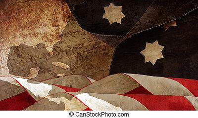 Usa Flag Waves On Wood.