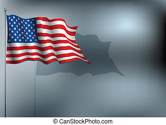 USA flag waving at night