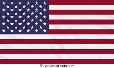 USA flag waving cloth, background loop