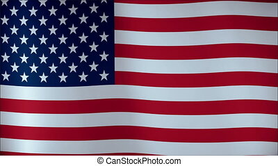 USA flag waving in the wind - highly detailed fabric texture 4K