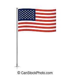 USA flag waving on a metallic pole.