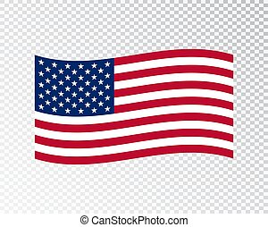 USA flag waving on blank background. Vector illustration