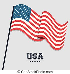 USA flag waving symbol celebraton patriotism design