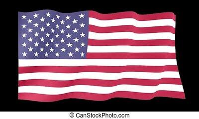 USA flag.   Waving