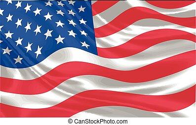 USA Flag waving vector
