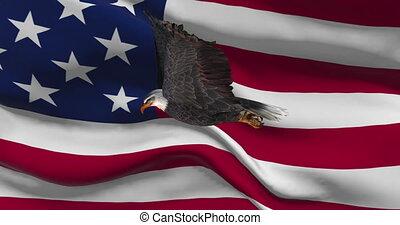 USA flag with bald eagle animation - national patriotic colorful symbol.