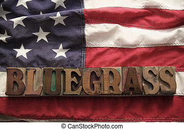 USA flag with bluegrass word