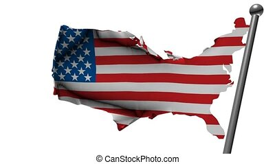 usa flag with country map, 3d animation
