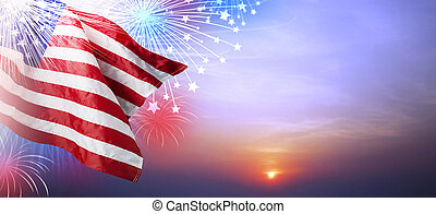 USA flag with firework at sunset background
