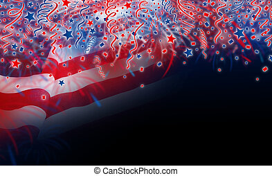 USA flag with fireworks design on black background