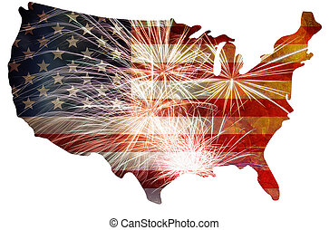 USA Flag with Fireworks Map Grunge Background