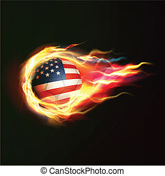 USA flag with flying soccer ball on fire isolated black background, vector illustration