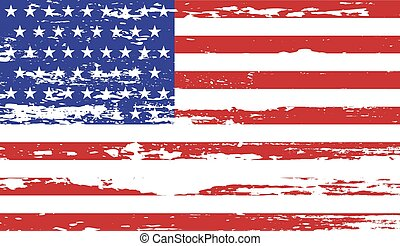 USA flag with grunge on a white background. Vector illustration