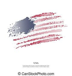 USA flag with halftone effect.