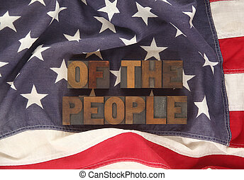 USA flag with of the people words