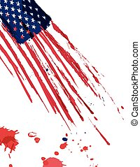 USA flag with paint strokes