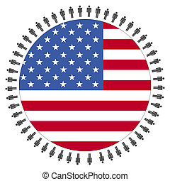 USA flag with people