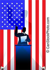 USA flag with political speaker behind a podium Original vector illustration. Ideal for national pride concepts.
