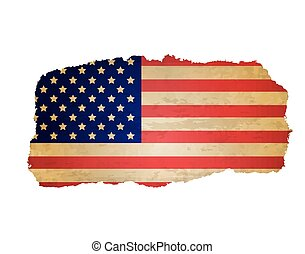 Usa Flag With Rip Paper, Retro Illustration, Vector...