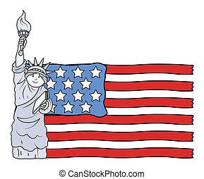 USA Flag with Statue of Liberty