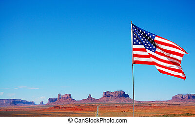 USA, Flag with the canyon in the background