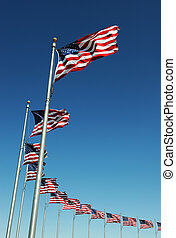 USA flags in a row