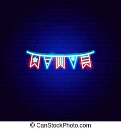 USA Flags Neon Sign