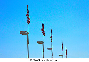 USA flags on file