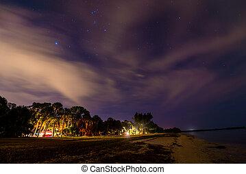 usa, florida, éjszaka, táborhely, desoto, erőd
