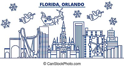USA, Florida, Orlando winter city skyline. Merry Christmas and Happy New Year decorated banner. Winter greeting card with snow and Santa Claus. Flat, line vector. Linear christmas illustration