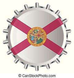 USA Florida State Flag Metal Bottle Cap