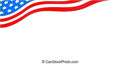 USA flowing flag corner banner with stars.