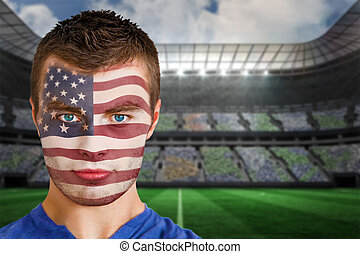 Usa football fan in face paint