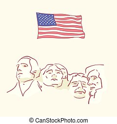 USA founding fathers flag hand drawn style vector doodle...