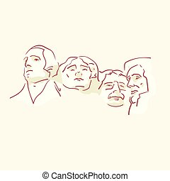 USA founding fathers hand drawn style vector doodle design...
