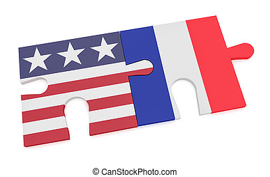 USA France Partnership Concept: US Flag And French Flag Puzzle Pieces