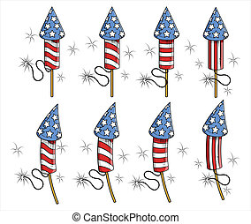 USA Freedom celebration fireworks Vector Illustration