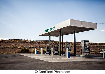 USA gas station - Rusty abandoned vintage USA gas station,...
