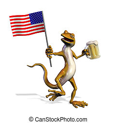 USA Gecko with Beer